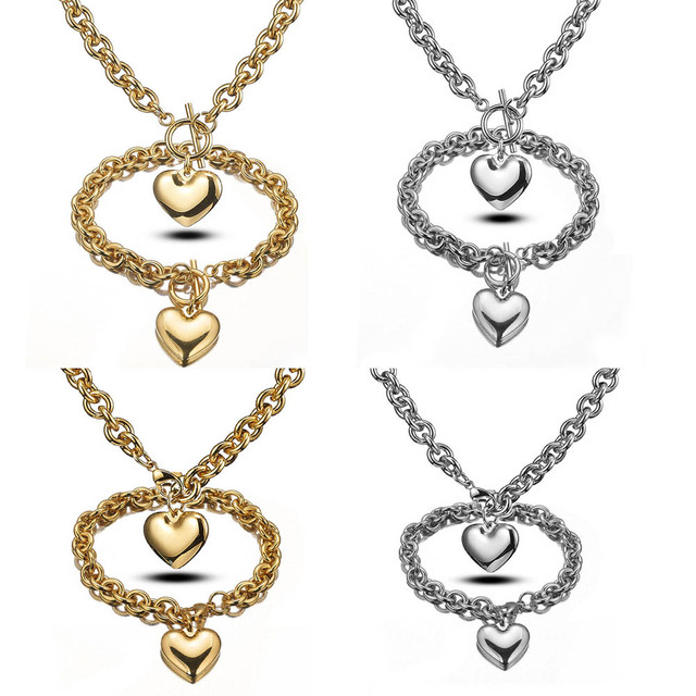 316L Stainless Steel Jewelry Sets Heart Pendant Necklace Bracelet Women Fashion O Chains Lobster Clasp & OT Clasps Accessories