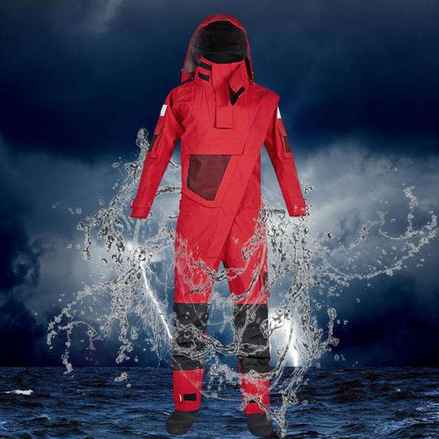 3-Ply Men's Front Zip Dry Suit with Detachable Hood Waterproof Breathable Paddling Drysuit Kayak Whitewater Suit for Expedition