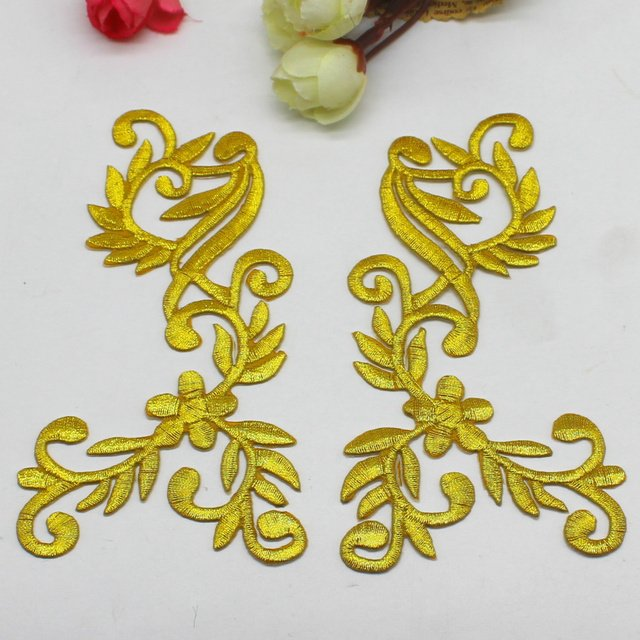 3 Pairs/Lot Iron On Embroidered Patches Gold And Silve Flower Appliques Mirror Pair 3D Vintage Diy Costume Trims 6.5*12.5cm Diy