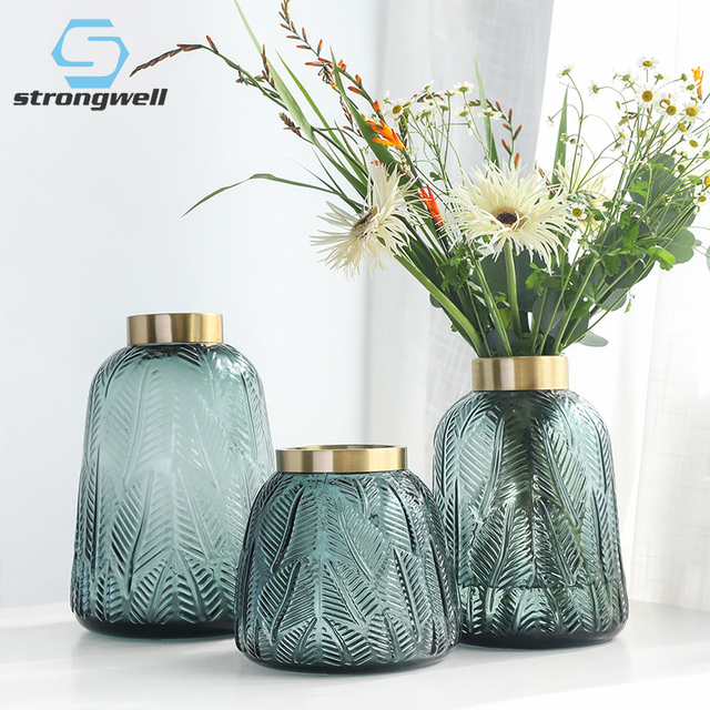 Strongwell Leaves Pattern Art Figurines Big Glass Flower Vase Plants Holder Thich Vases Home Decoration Acessories Living Room Buy Inexpensively In The Online Store With Delivery Price Comparison Specifications Photos