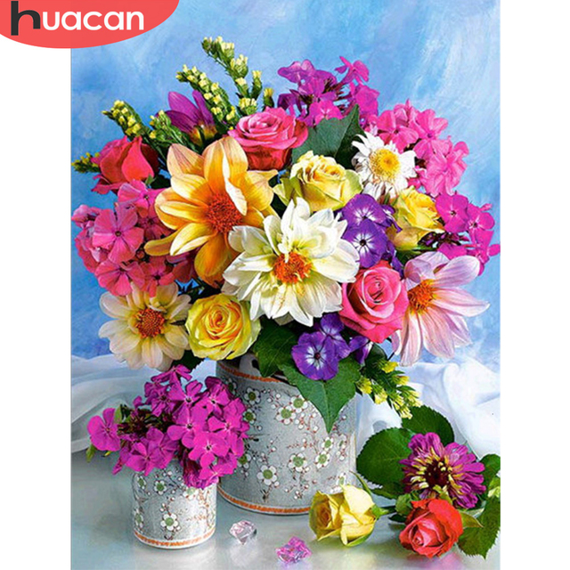 HUACAN 5D Diy Diamond Painting Full Square Flowers Mosaic Decorations For Home Embroidery Handmade Gift