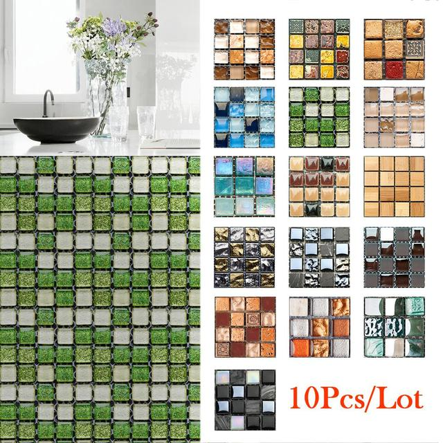 10pcs/lot 3D Tile Stickers Waterproof Wall Sticker Self-adhesive Mosaic Sticker Wall Home Bathroom Kitchen Decor PVC Decorative