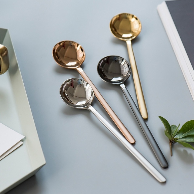 304 Stainless Steel Spoon Coffee Spoon Long Handle Tea Spoons  Kitchen Hot Drinking Flatware Ice Cream Cutlery