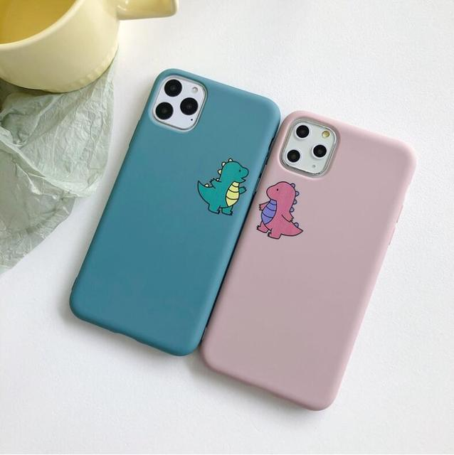 Cute Dinosaur Case For iPhone 6 6S 7 8 Plus For iPhone 11 Pro Max XR XS Max X Plain Silicone Cover Cases Soft TPU Silicone Love