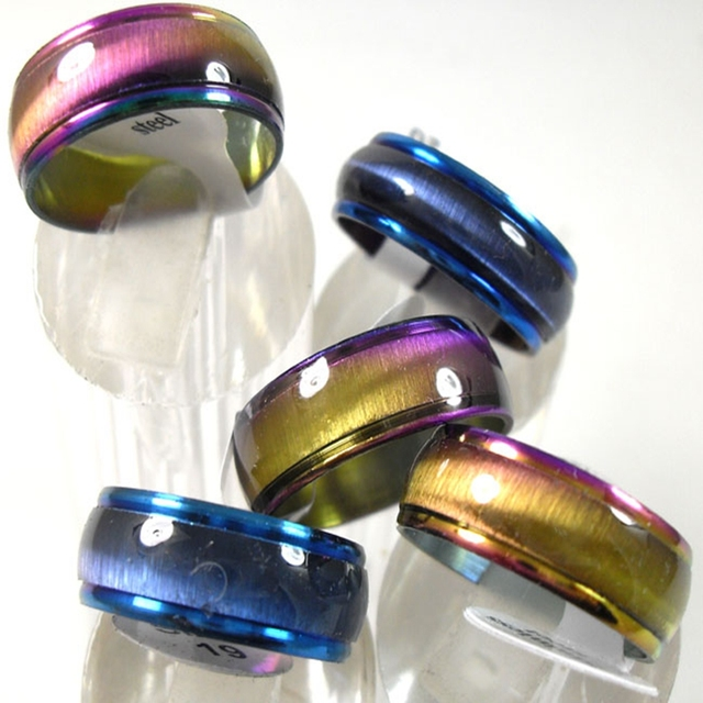 50pcs Color Blue Mix Cat Eye Stainless Steel Rings For Men and Women Wholesale Fashion Jewelry lots