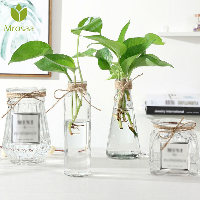 Newest Transparent Water Hydroponics Flower Rope Dry Flower Vase DIY Valentine's Day Nordic Glass Vases Living Room Table Decor