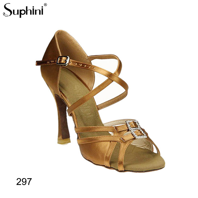 Suphini 10cm Latin Dance Shoes Ballroom Tango Ladies Girls Satin Dancing Shoes For Women