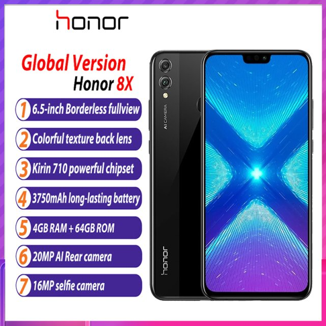 Global Version Honor 8X Mobile Phone 6.5'' full Screen  Smartphone Android 8.1 Octa Core Fingerprint ID Smartphone