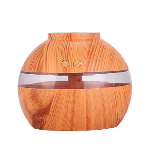 Ultrasonic Nebulizer Air Humidifier 300M Aromatherapy Essential Oil Aroma Diffuser With Wood Grain 7 Color LED Light For Home