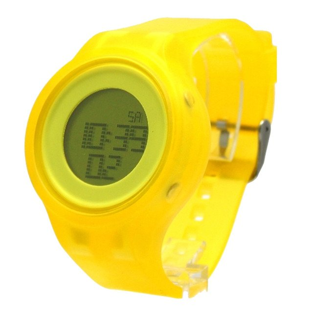 Yellow digital wristwatches Chronograph Date Alarm BackLight Silicone Yellow Band Women Digital Watch DW363D