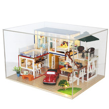 13842Z Container Home With Music Cover Light DIY Handmake Dollhouse Kit 3D Japanese Style Toy Gift For Children