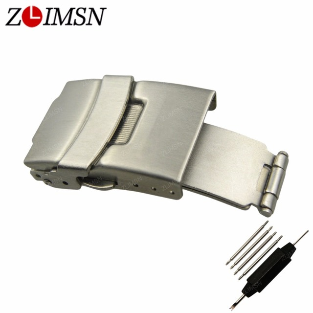 ZLIMSN Stainless Steel Belt Buckles Brushed Watch Bands Automatic Double Push Button Fold Deployment Clasp Belt Buckle 20mm Pure