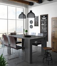 Home Innovation-Table Console extendable dining set up 140 cm, gray color, Dimensions closed: 90x50x78 cm